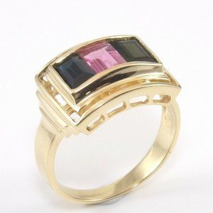 14K Yellow Gold Pink Green Amethyst Ring Size 7